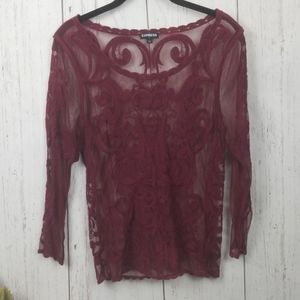 Maroon lace long sleeve top Express size Medium